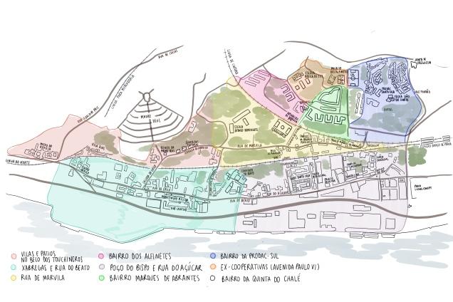 Figura 2 Núcleos populacionais na área do Projeto ROCK